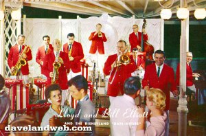 My Dad (foreground, Saxophone) and my Uncle Lloyd (Trombone ) on the Carnation Plaza Gardens Bandstand at Disneyland