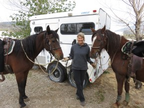 Dawn with Starboy and Aria -- note the size relationship between human bones (note wrist!) and horse!