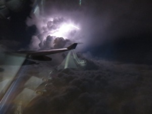 Lightning off the wing over Honolulu
