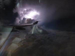 Lightning off the wing over Honolulu